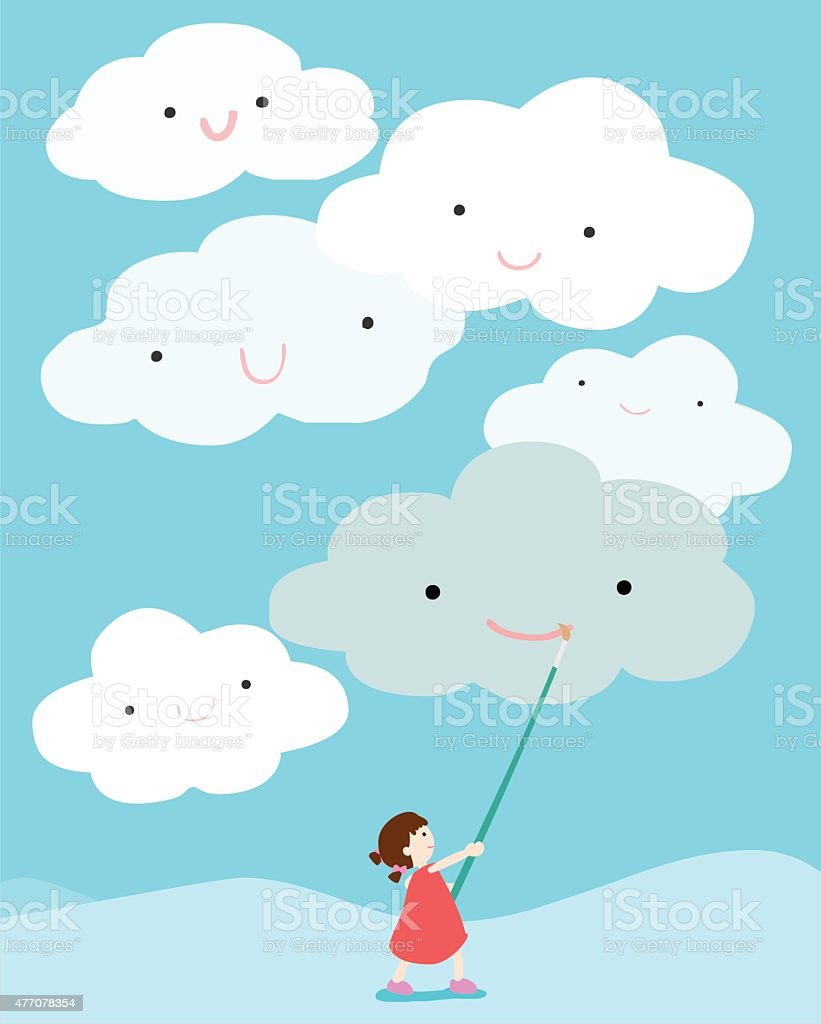 girl positive thinking draw smile on cloud vector vector art illustration