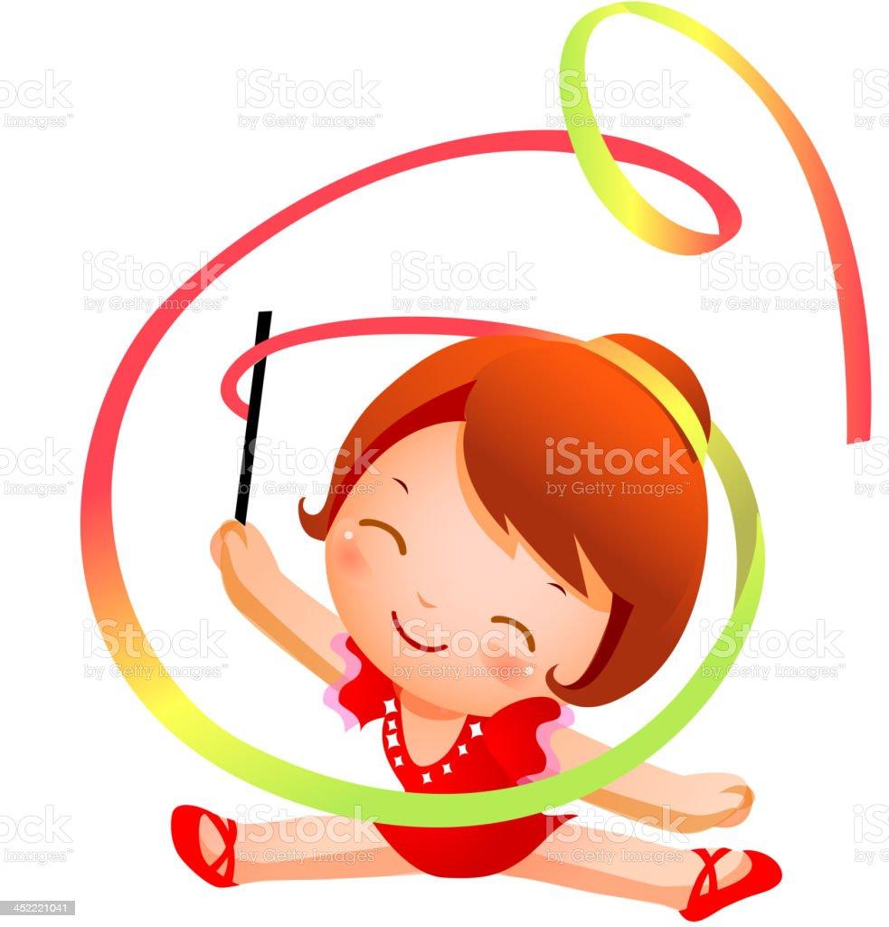 Girl practicing rhythmic gymnast performing with ribbon royalty-free stock vector art