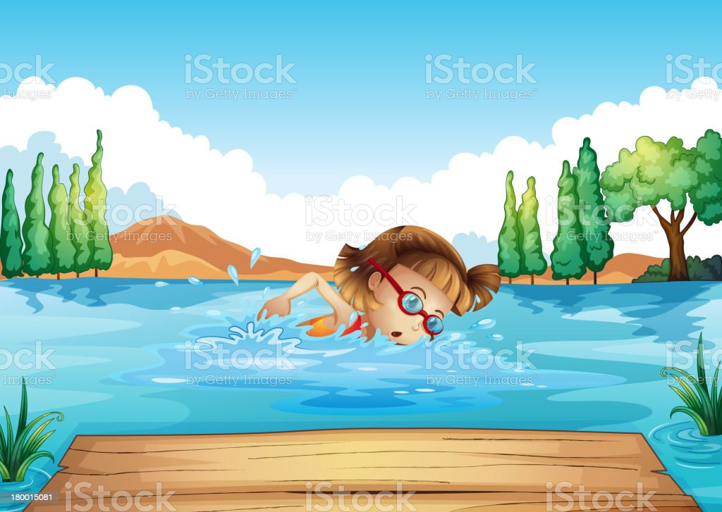 girl practicing swimming royalty-free stock vector art