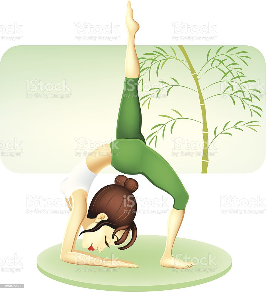 Girl Practicing Yoga royalty-free stock vector art