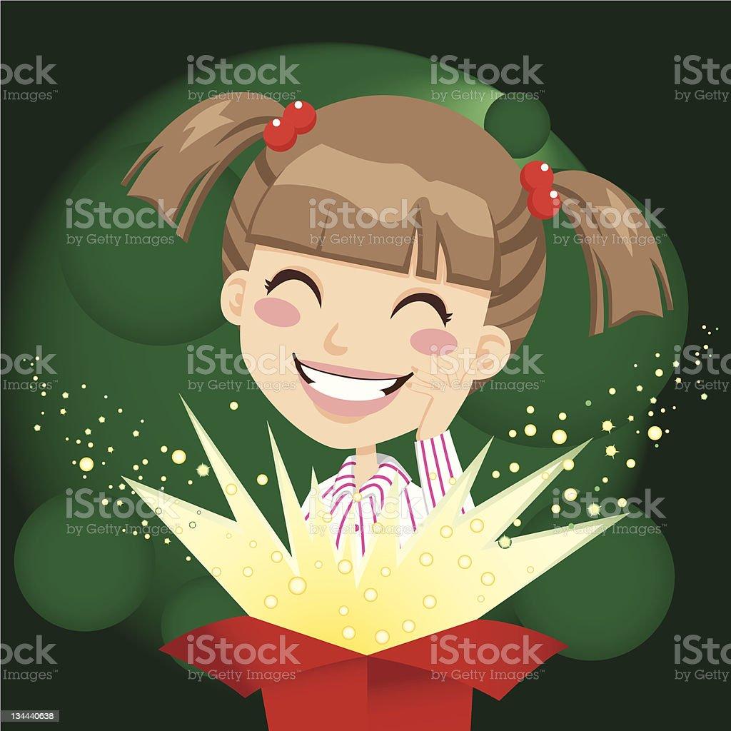 Girl Present Surprise vector art illustration