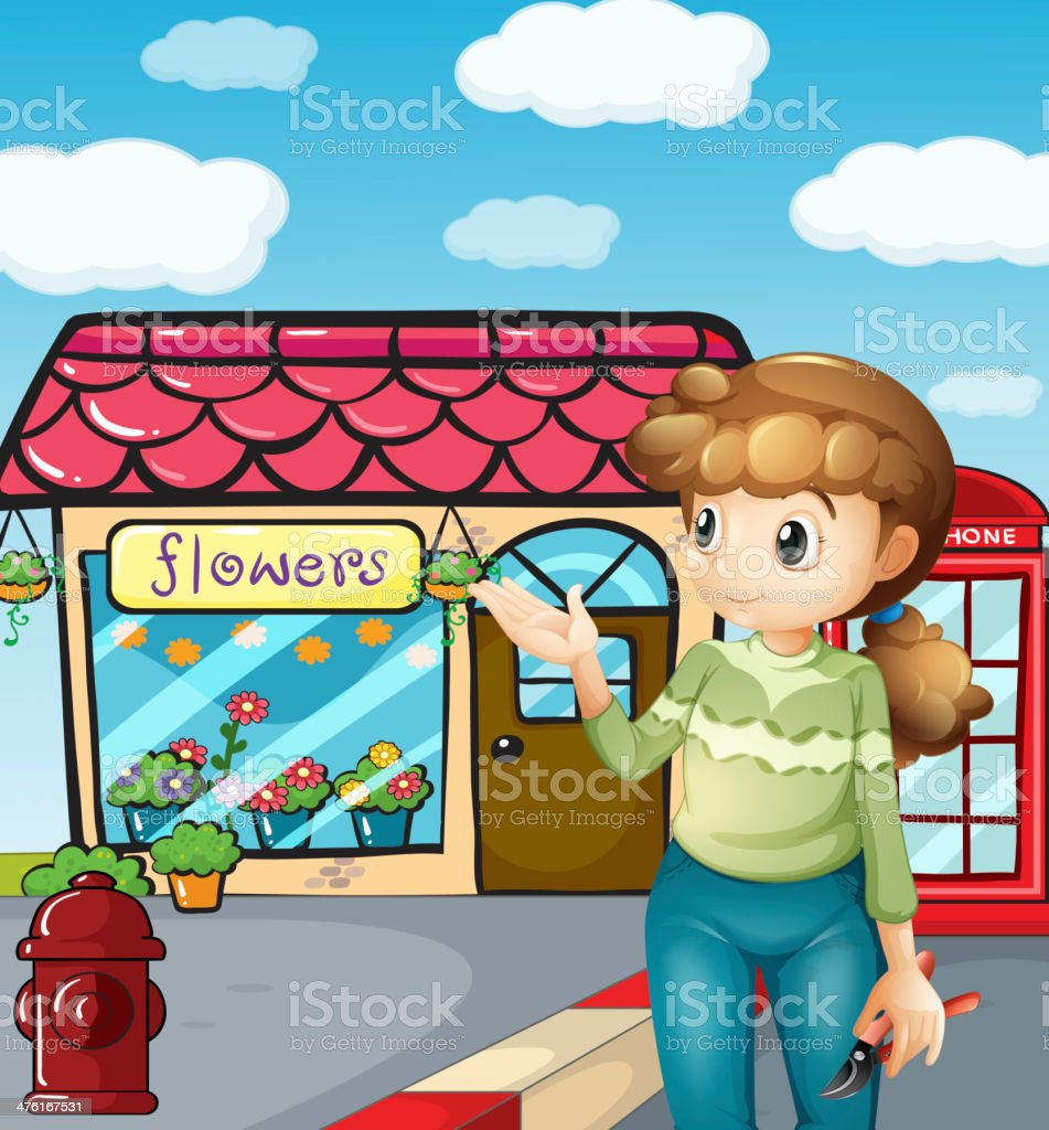 Girl presenting the flower shop royalty-free stock vector art
