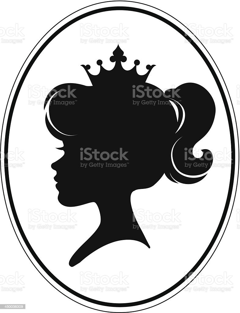Girl Princess Silhouette vector art illustration