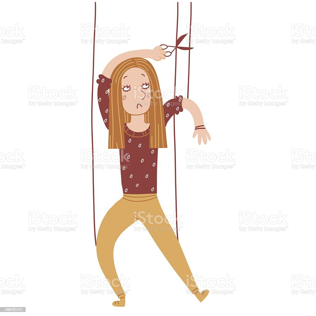 Girl puppet vector art illustration