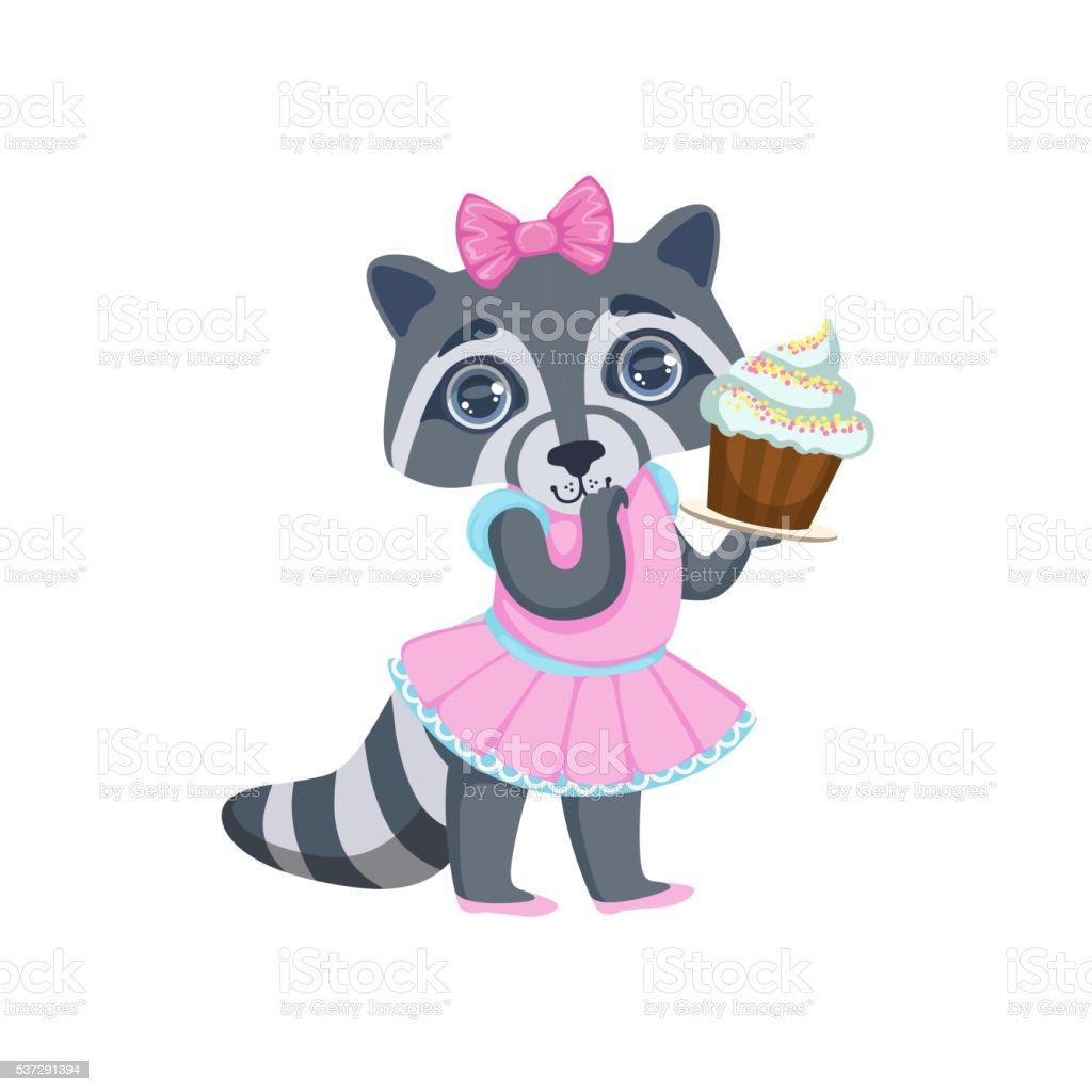 Girl Raccoon With Cupcake vector art illustration