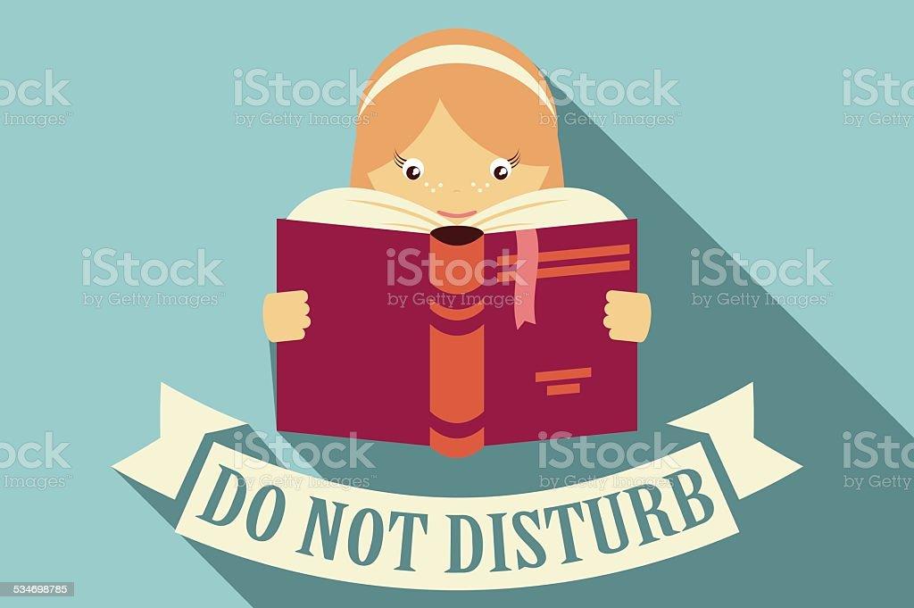 Girl reading a book, do not disturb sign, imagination vector art illustration