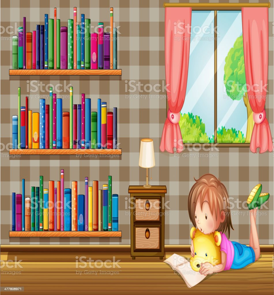 Girl reading book near window with pink curtain royalty-free stock vector art