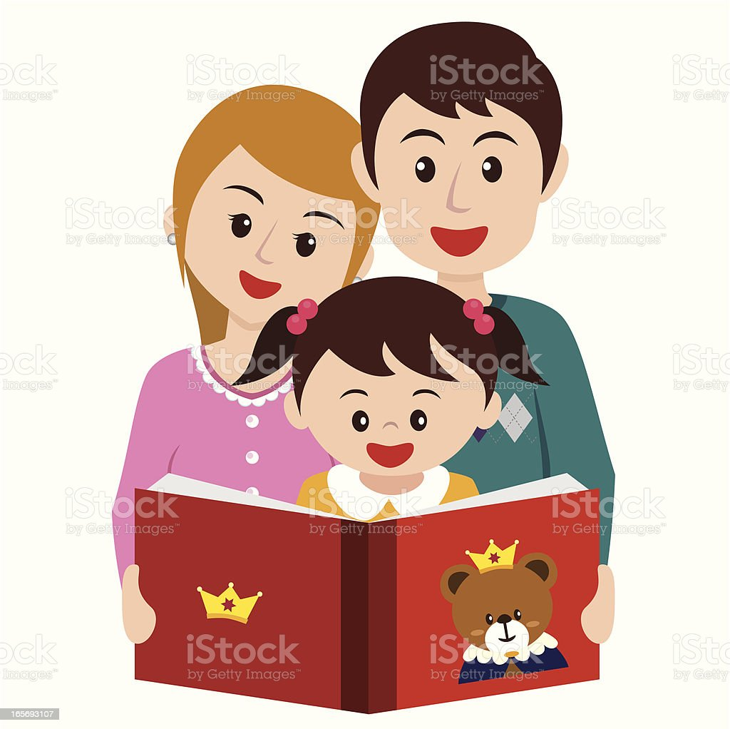 girl reading story book with parents royalty-free stock vector art