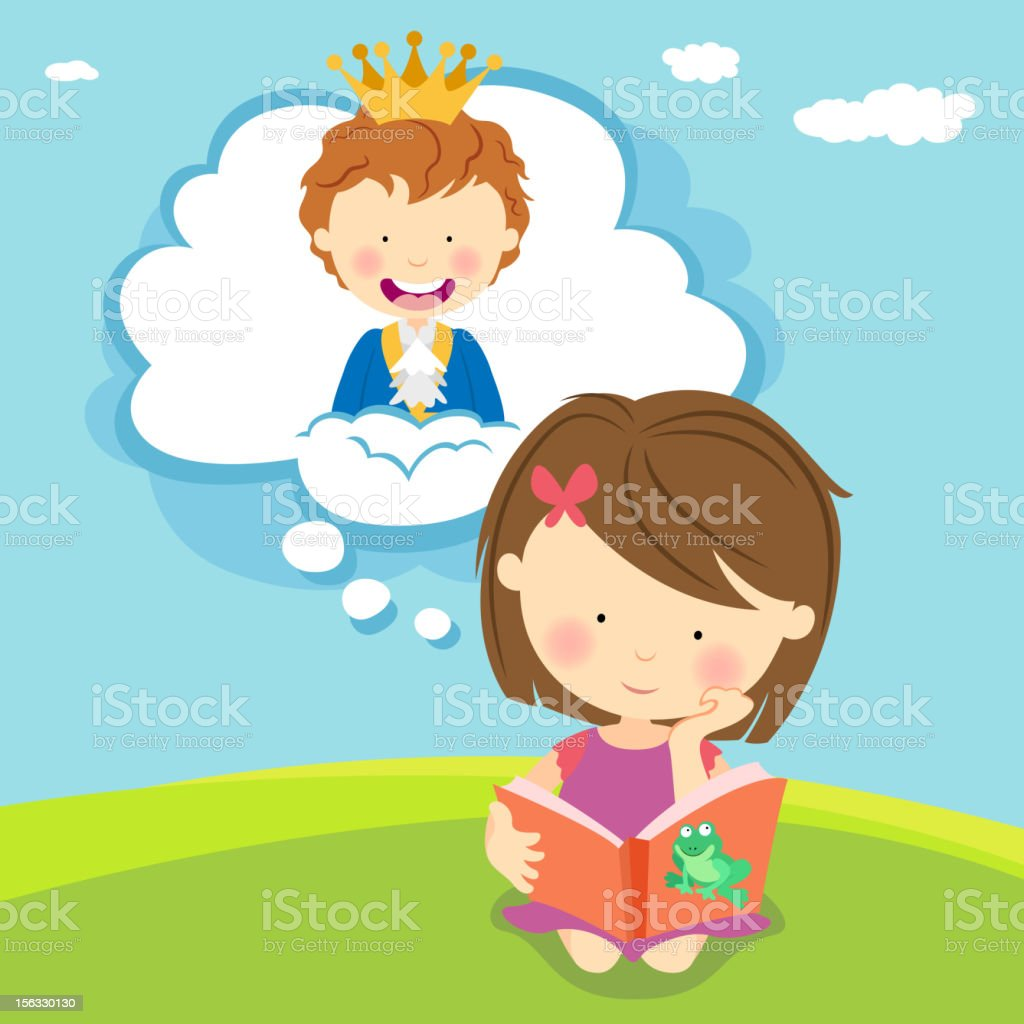 Girl Reading with Imagination royalty-free stock vector art