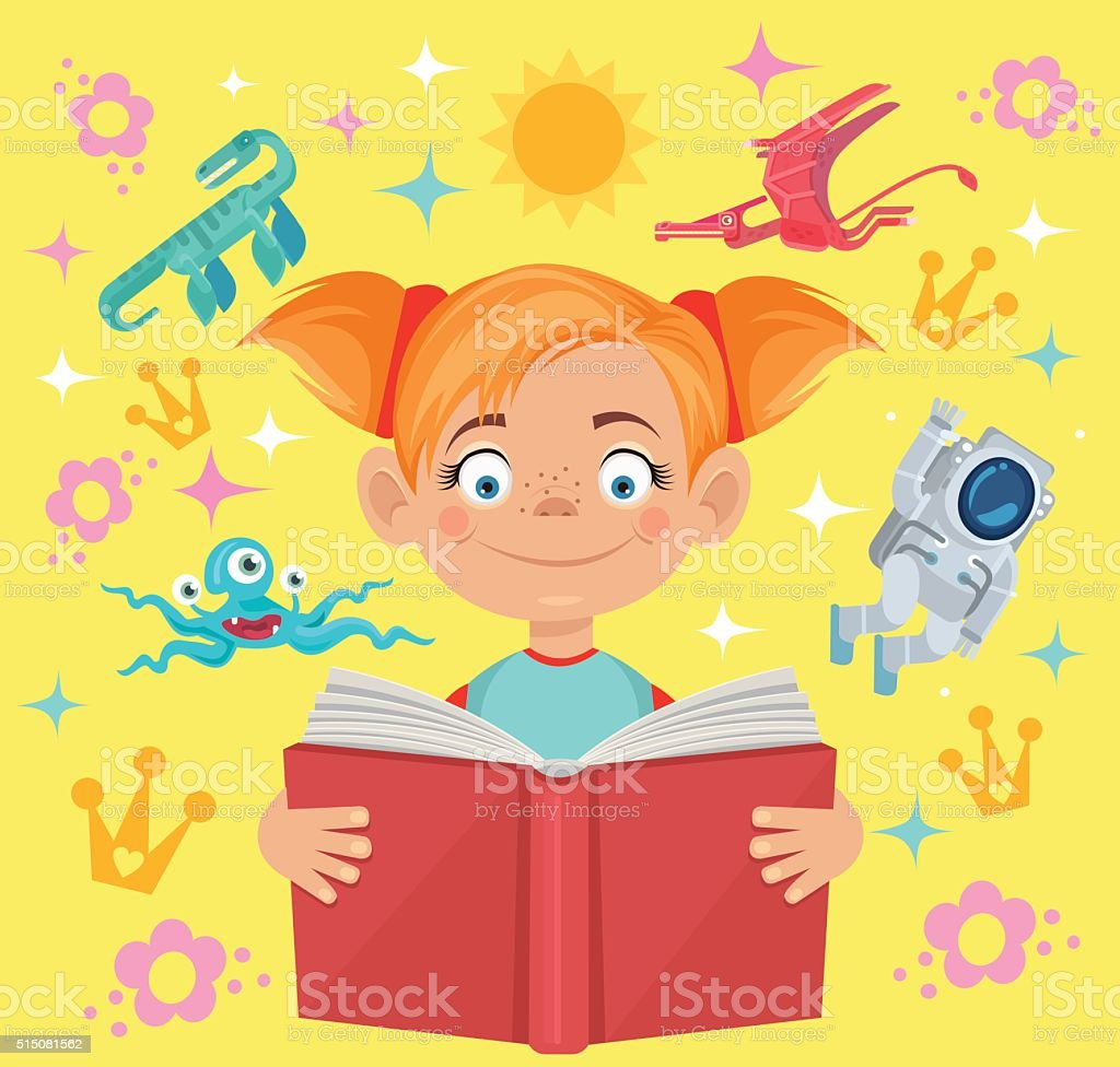 Girl reads fairy tale book vector art illustration