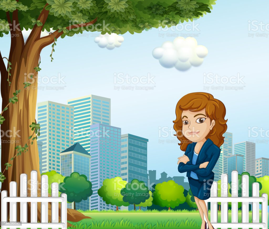 girl relaxing on her breaktime near the tree royalty-free stock vector art