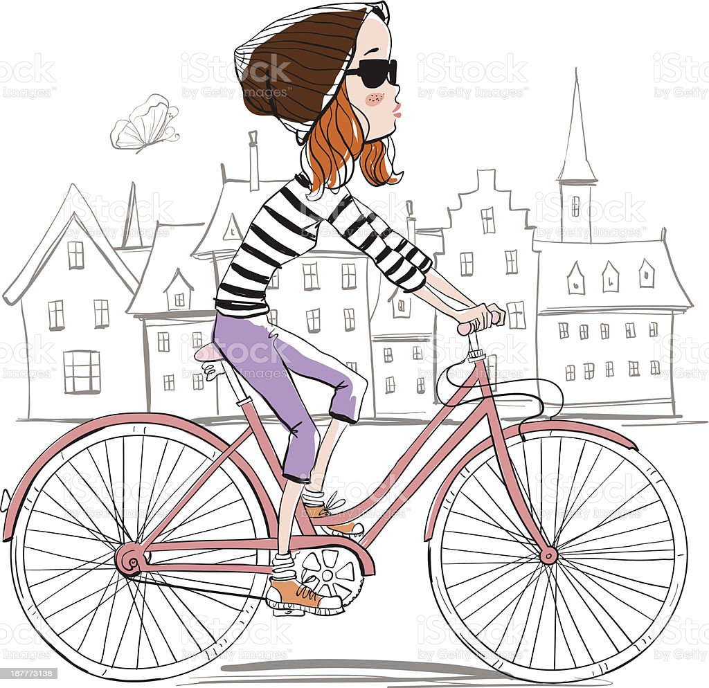 girl rides a bicycle royalty-free stock vector art
