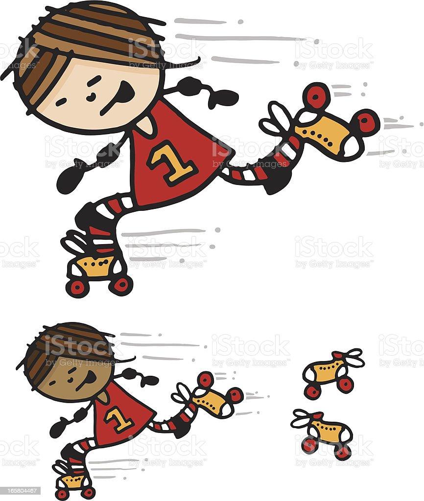Girl Roller Skating vector art illustration