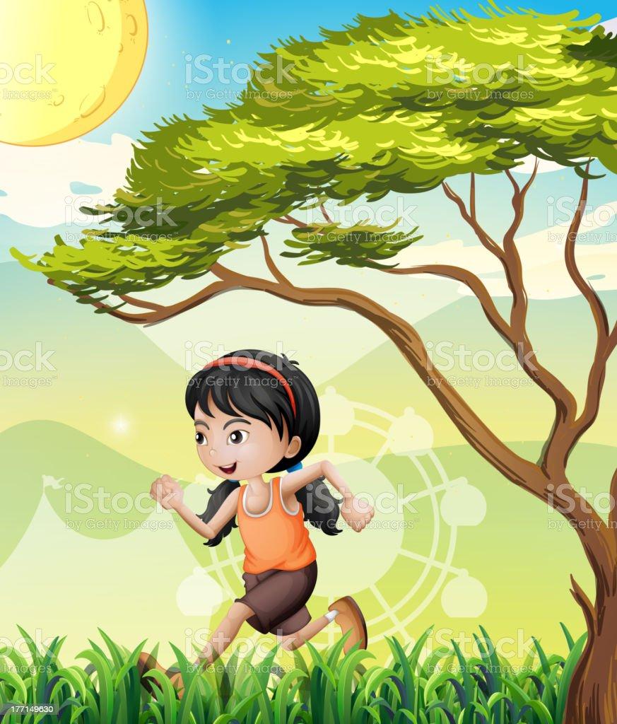 Girl running at the field royalty-free stock vector art
