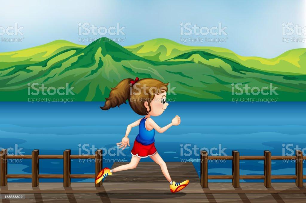 girl running at the port royalty-free stock vector art