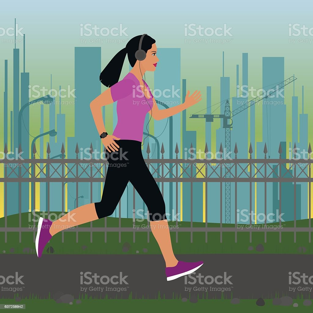 girl running on a background of the urban landscape vector art illustration
