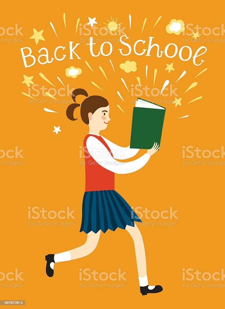 Girl running with a book. Back to school illustration vector art illustration