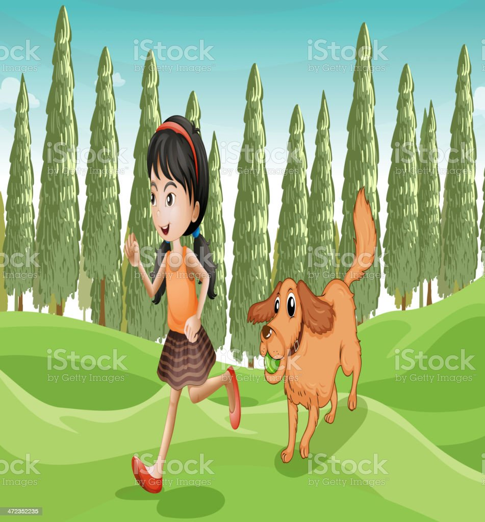 girl running with her dog royalty-free stock vector art