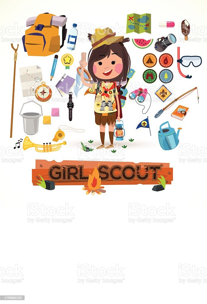 girl scout character with camping equipment. camping concept vector art illustration