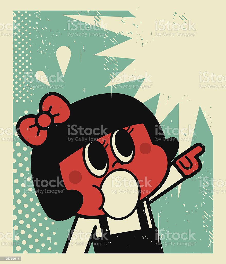 Girl Screaming and Pointing at Something royalty-free stock vector art