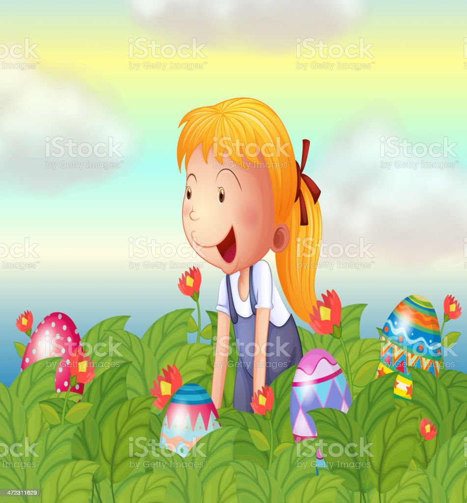 Girl seeing eggs in the garden royalty-free stock vector art