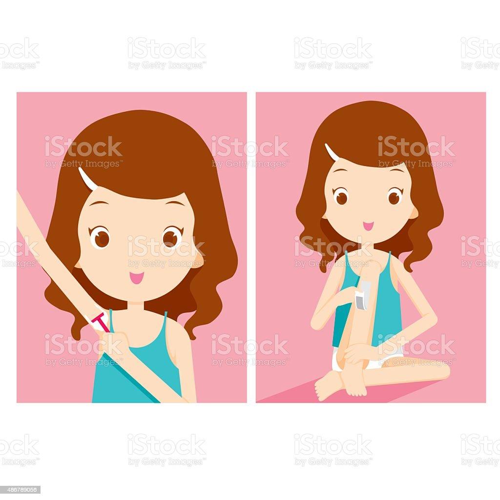 Girl shaving armpit and waxing leg vector art illustration