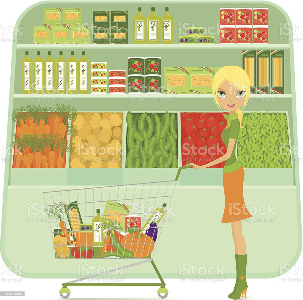 Girl shopping at supermarket with cart and grocery vector art illustration