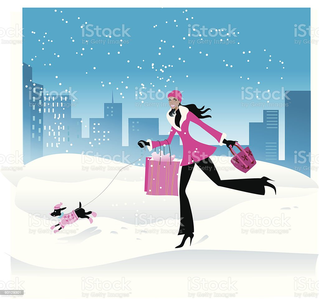 Girl shopping in the snow royalty-free stock vector art