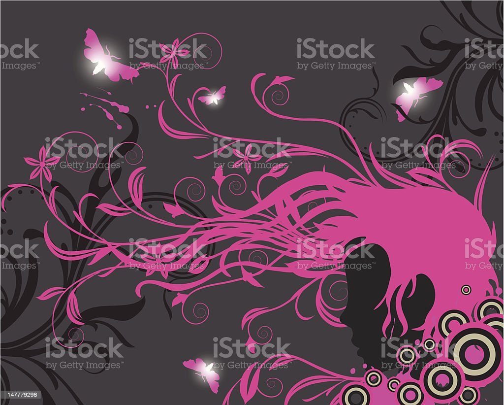 Girl silhouette with floral ornaments royalty-free stock vector art