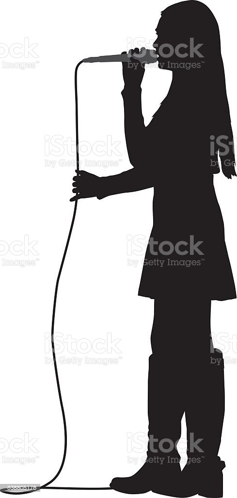 Girl Singing With Microphone vector art illustration