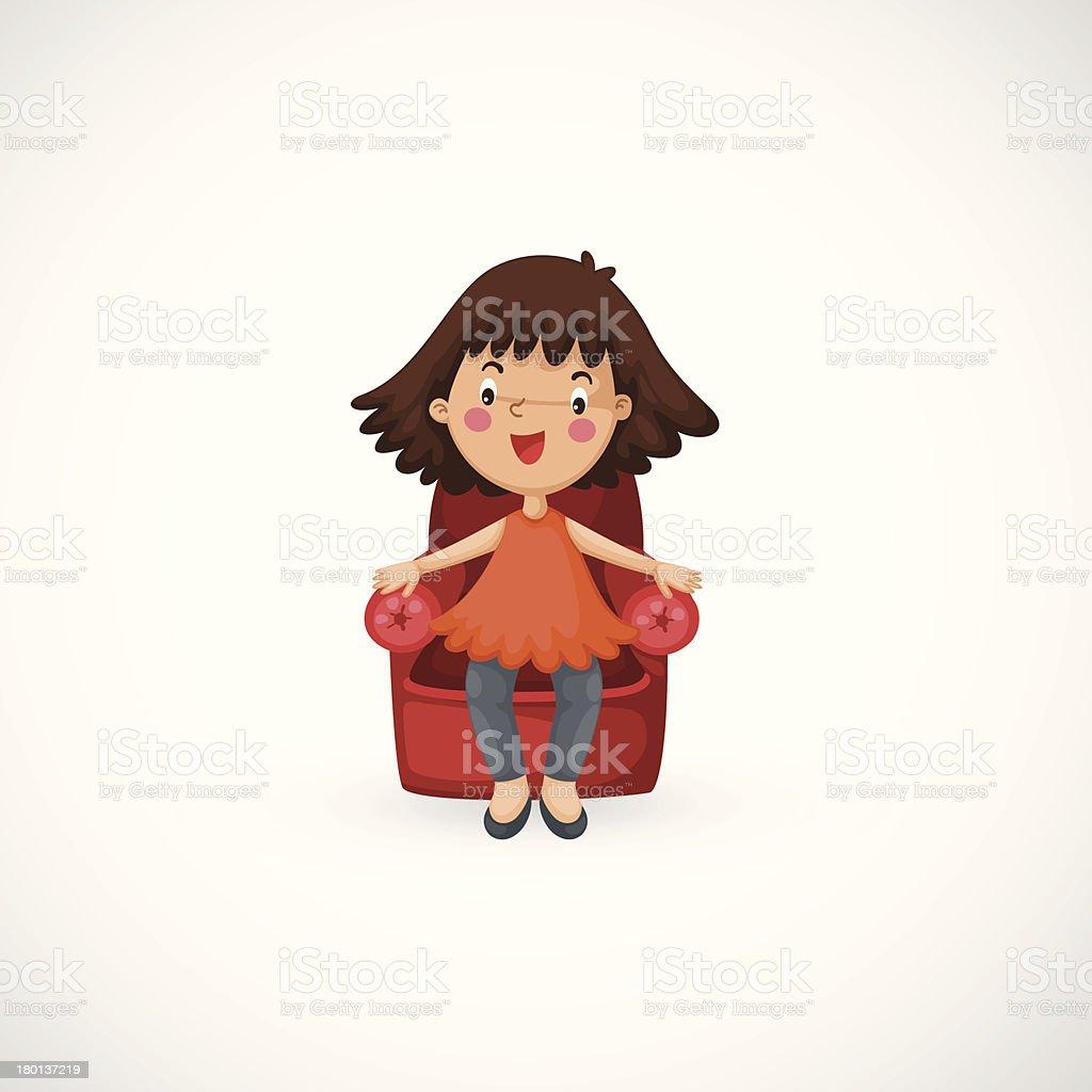 girl sitting chair vector royalty-free stock vector art