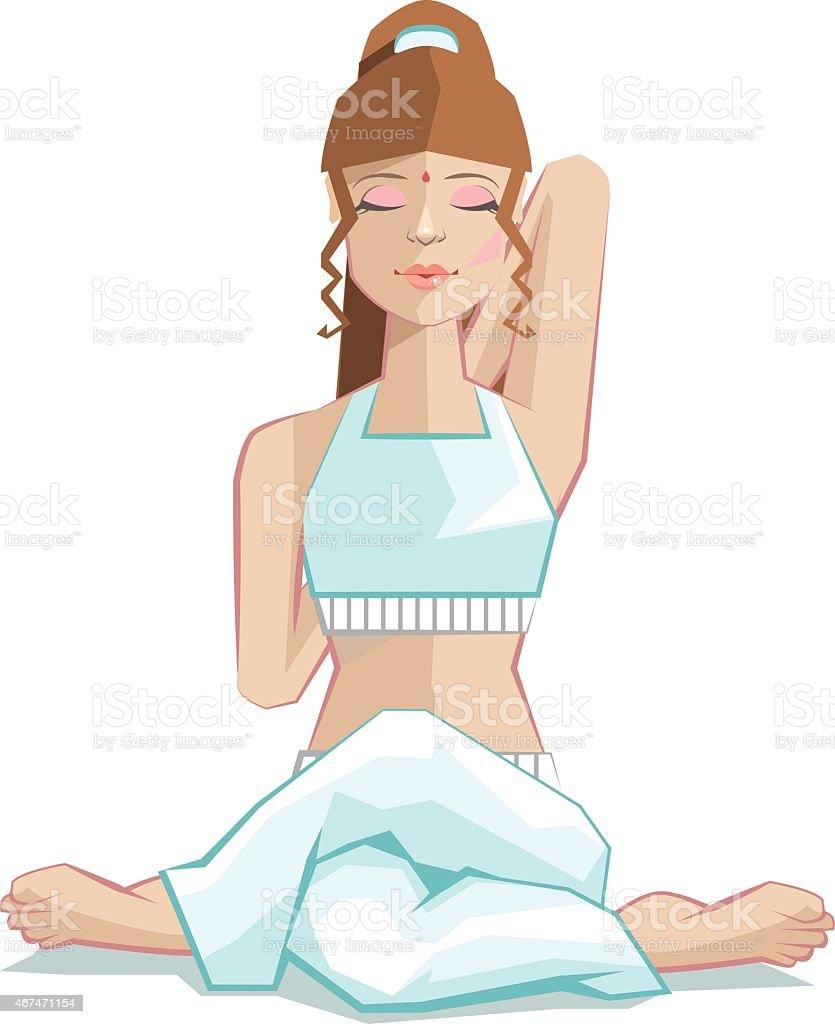 Girl sitting in yoga pose gomukhasana. Cows head posture vector art illustration