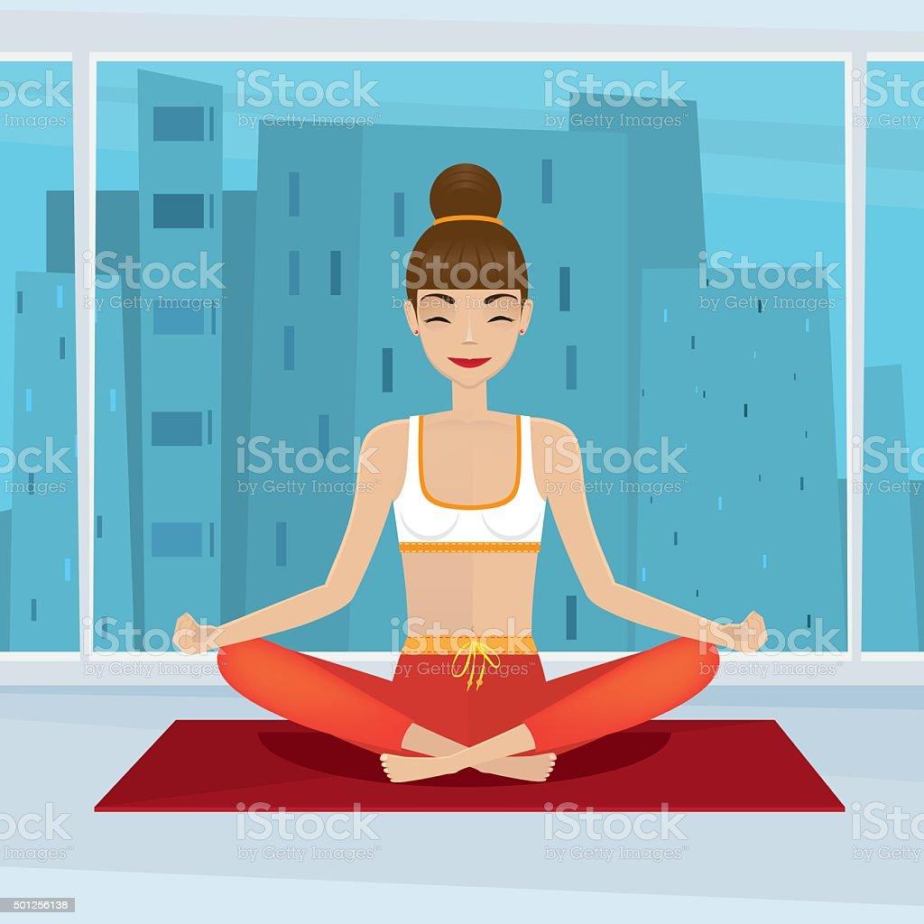 Girl sitting in yoga pose siddhasana near panoramic window vector art illustration