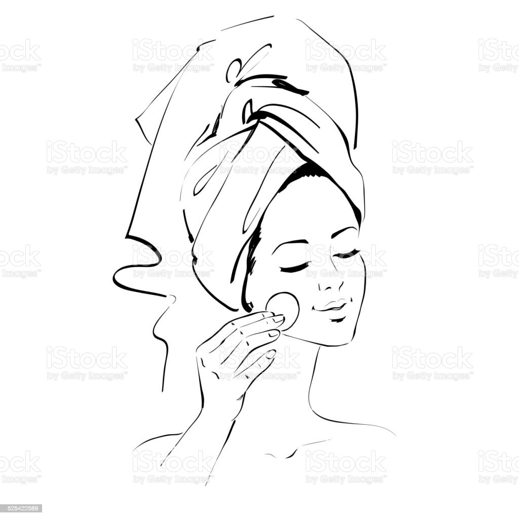 Girl. Skin care. vector art illustration
