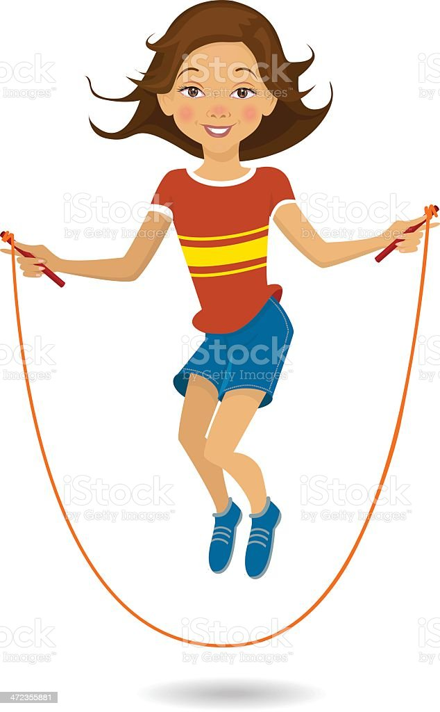 Girl Skipping vector art illustration