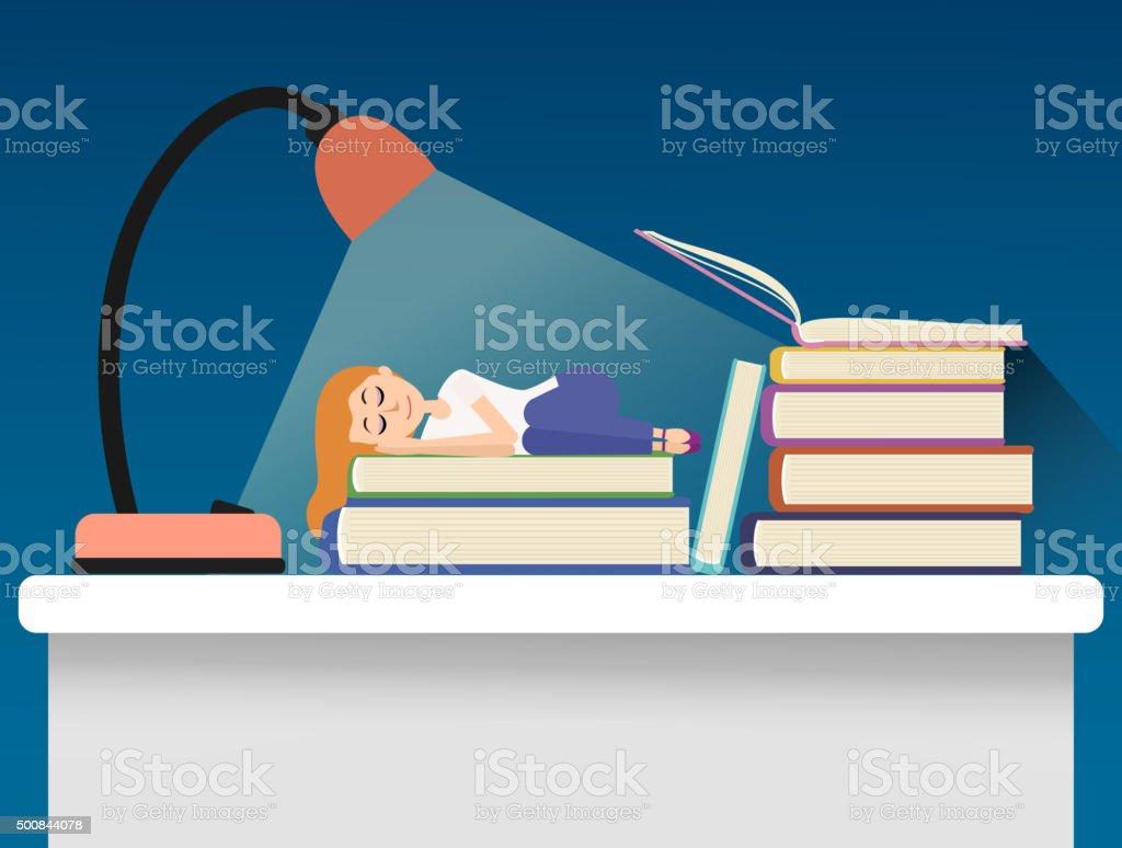 Girl sleeping on books. vector art illustration