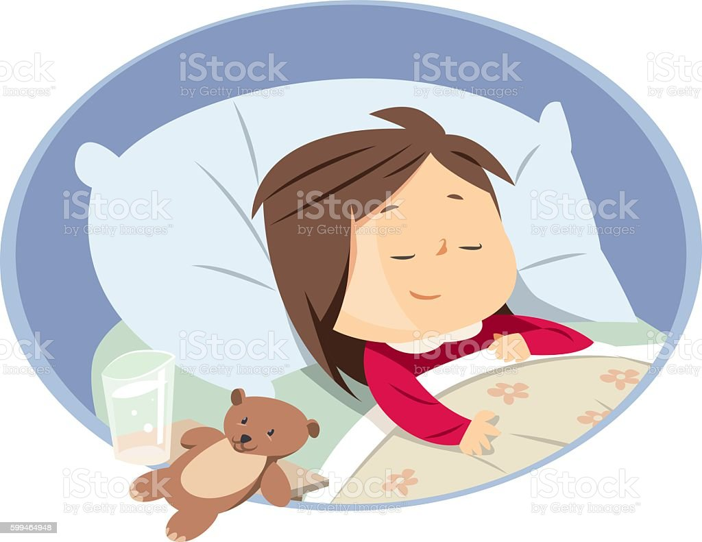girl sleeping vector art illustration