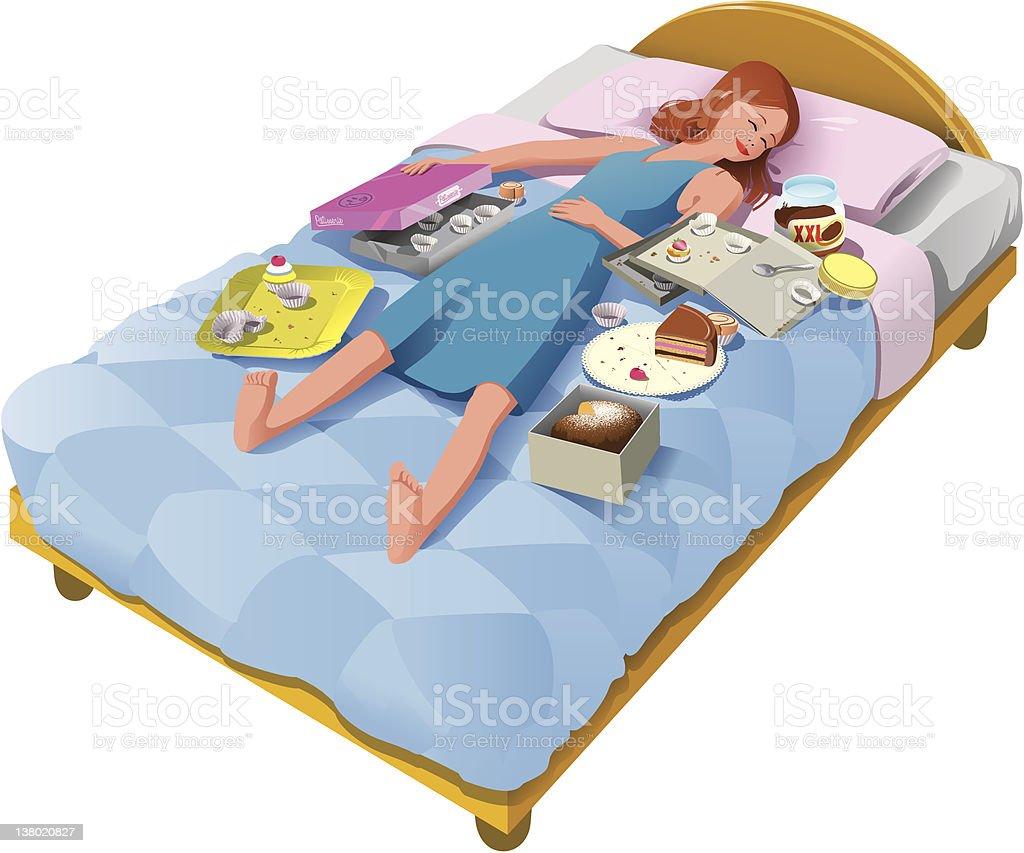 Girl sleeping with junk food vector art illustration