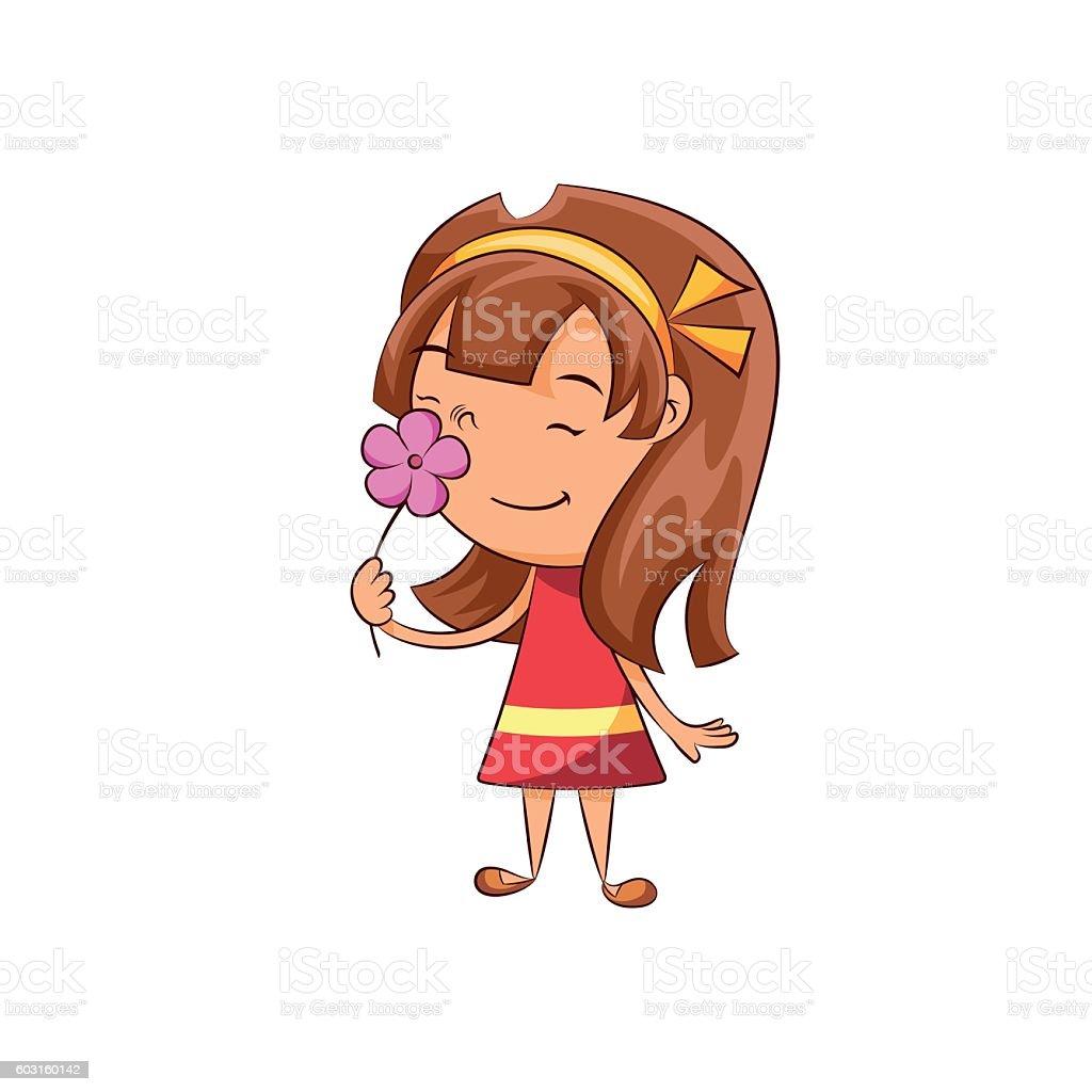 Girl smelling flower vector art illustration