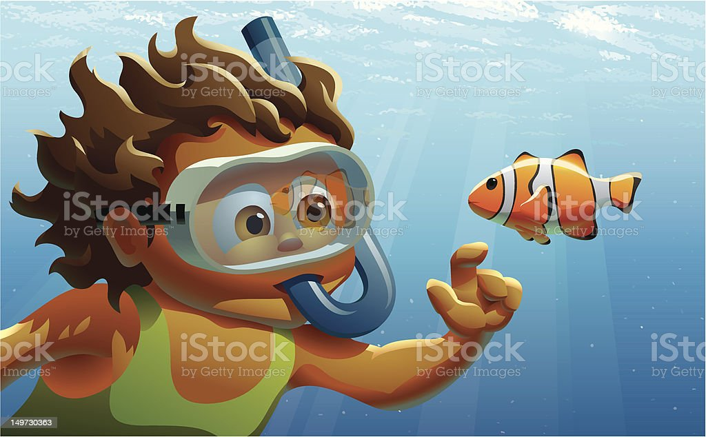 Girl Snorkeling in Ocean royalty-free stock vector art
