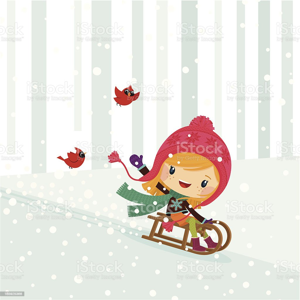 girl snow sled winter cute kid happy illustration vector myillo royalty-free stock vector art