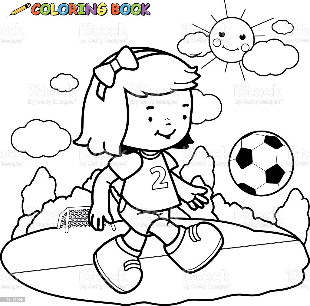 Girl Soccer Player Coloring Page stock vector art 495471098 iStock