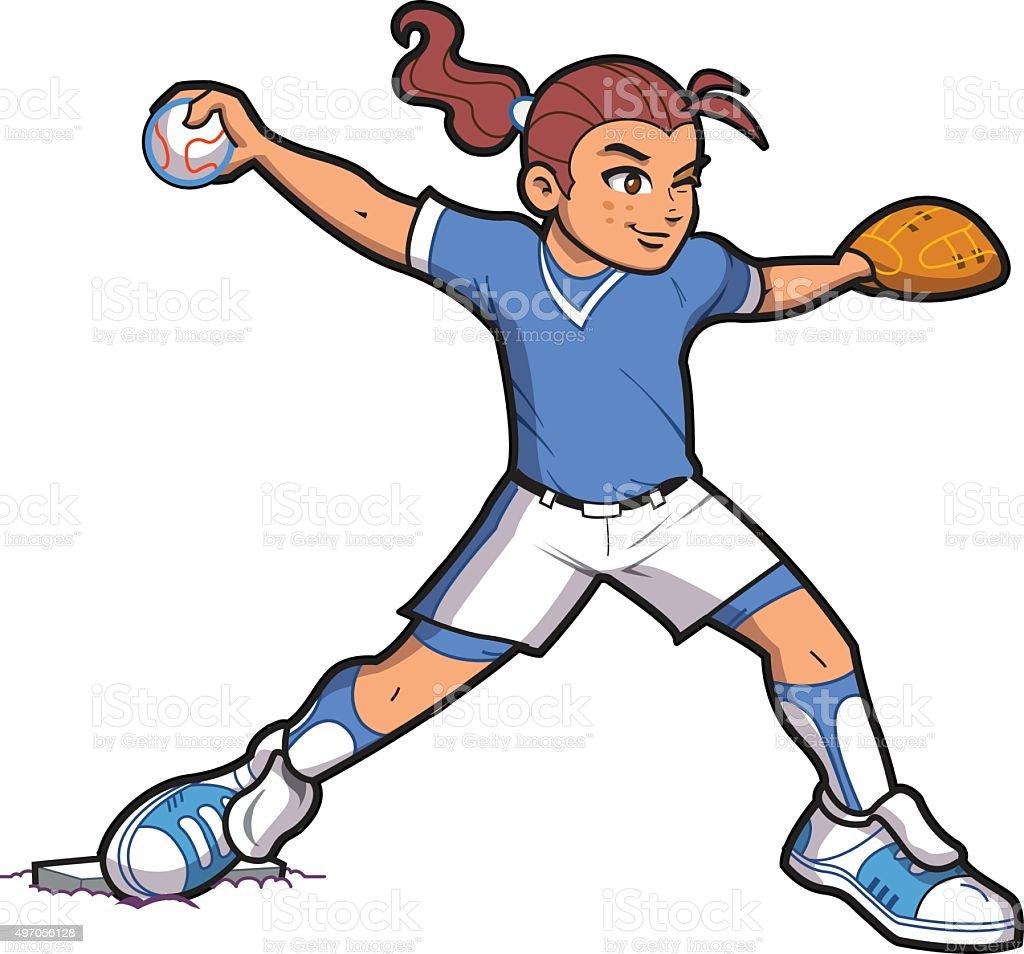 Girl Softball Pitcher vector art illustration