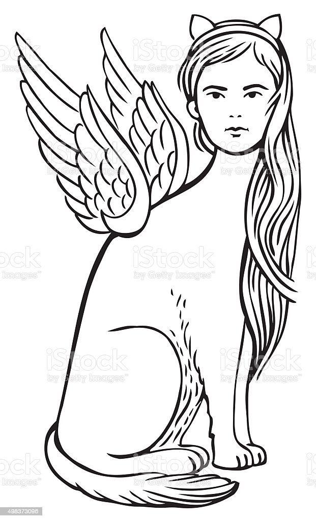 Girl - Sphinx vector art illustration