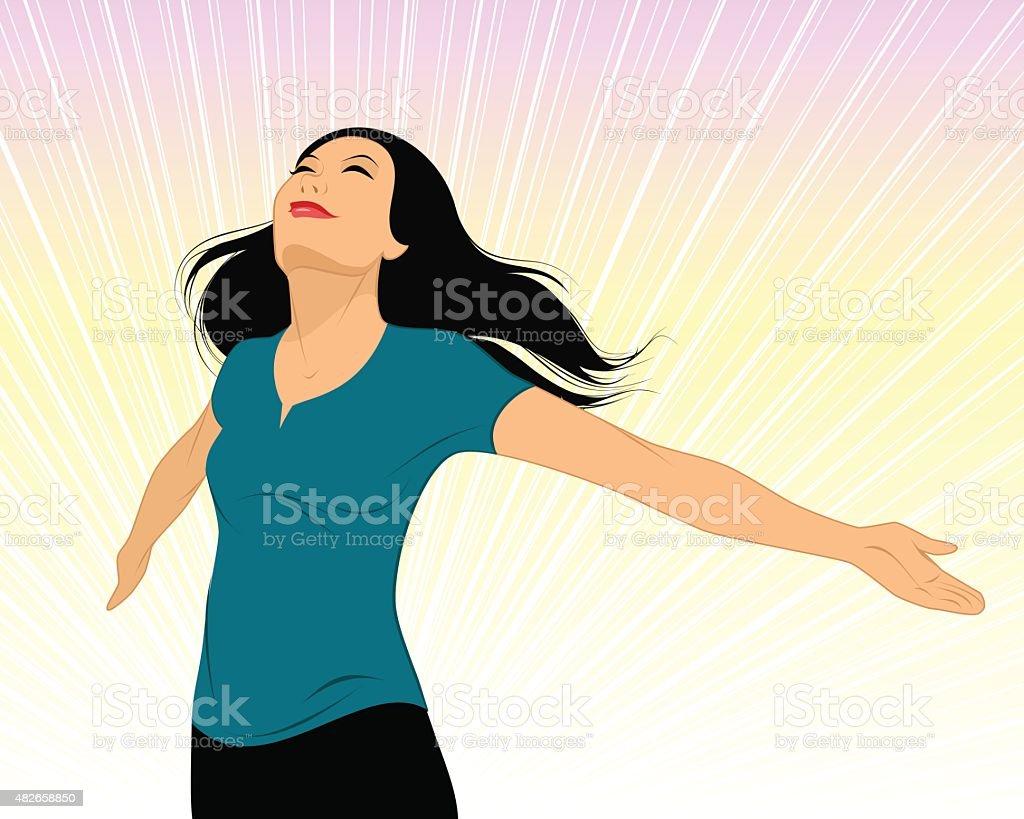 Girl spread her arms vector art illustration