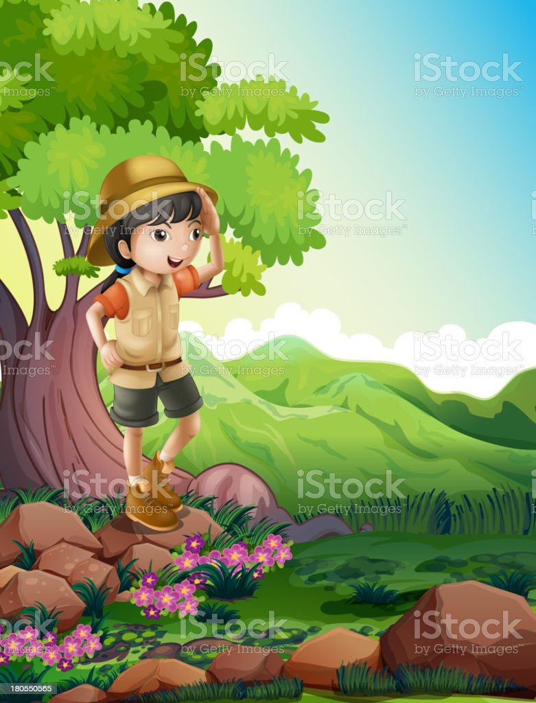 girl standing above the rock near  giant tree royalty-free stock vector art