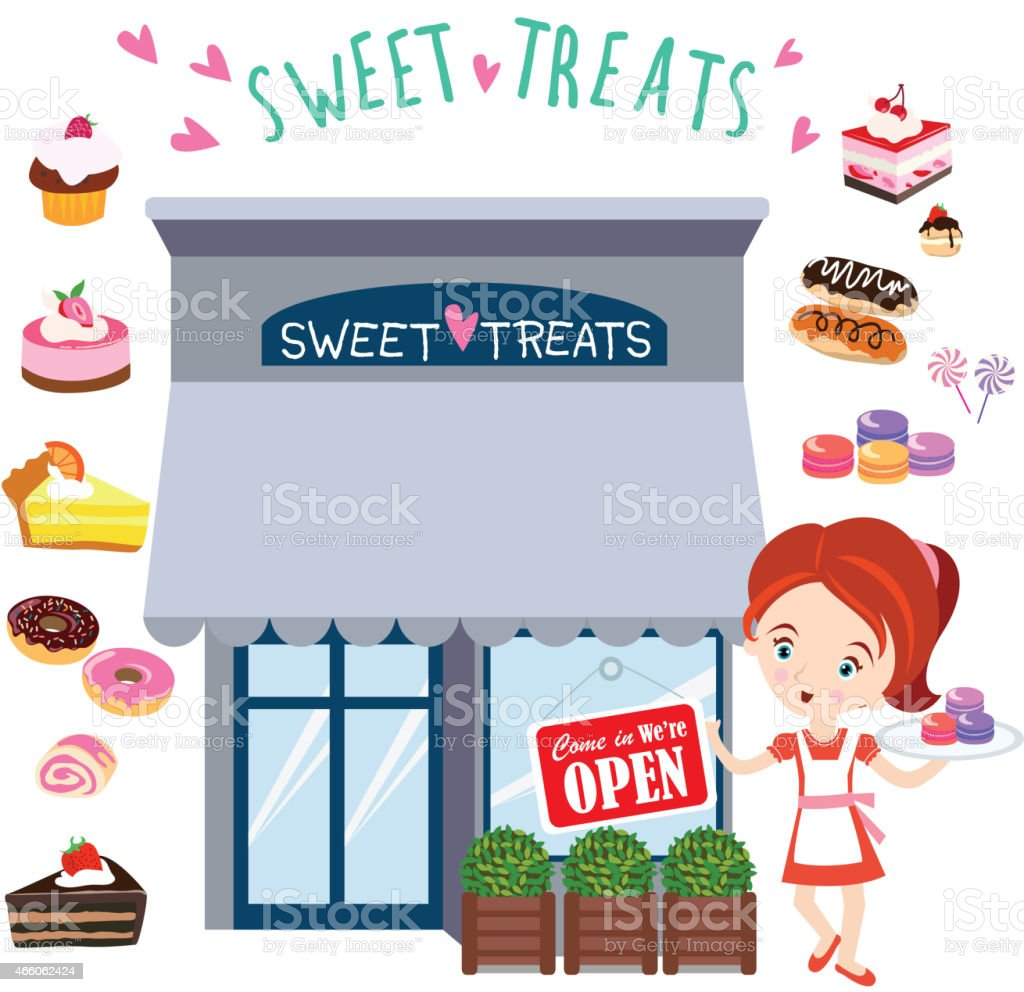 Girl Standing in Front of Candy Shop vector art illustration