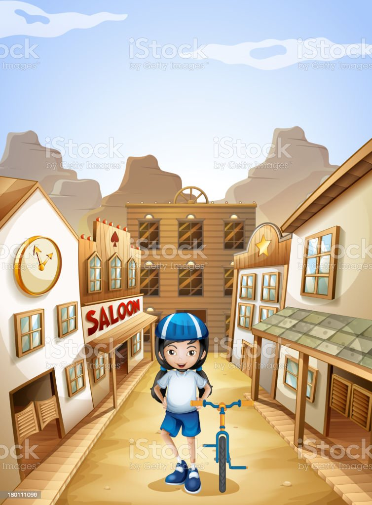 Girl standing in middle of saloon bars with her bike vector art illustration