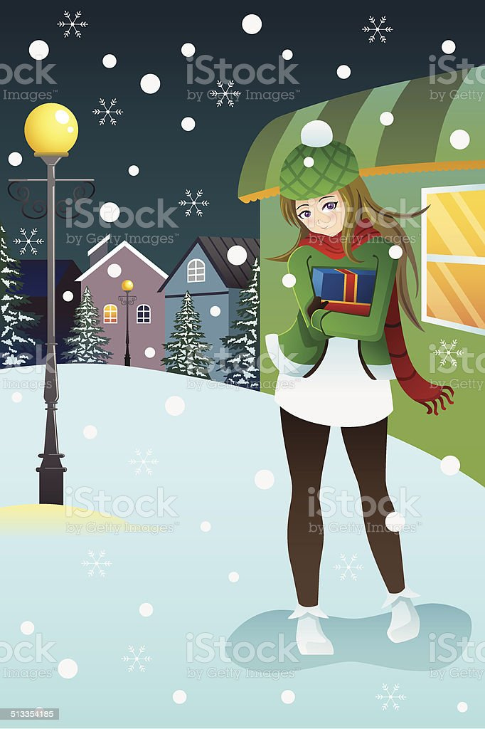 Girl standing in the middle of winter night vector art illustration