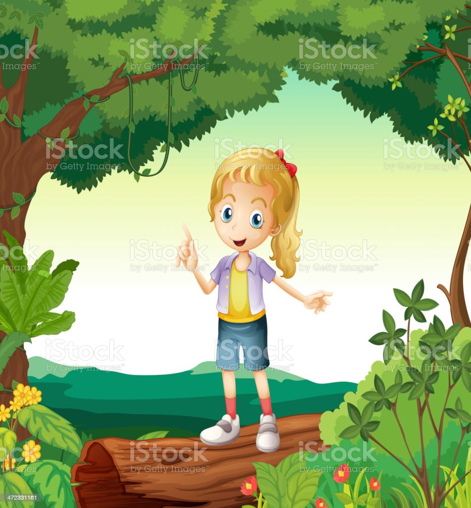 Girl standing on a dry wood royalty-free stock vector art